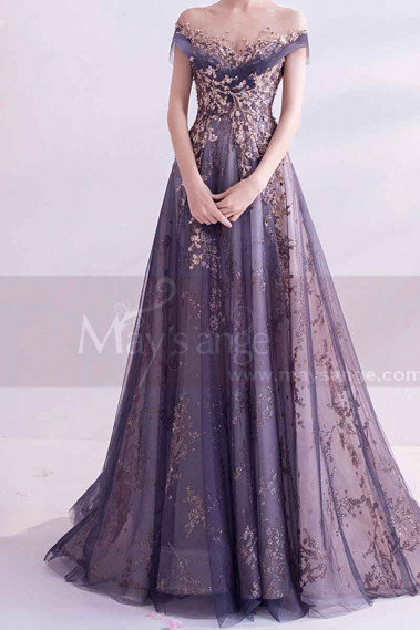Sheer neckline mother of the groom dresses golden embroidery - L2020 #1