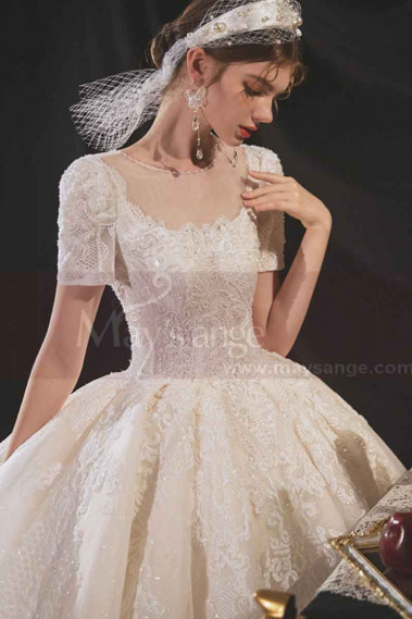 Lace Top Gorgeous Ivory Wedding Dresses With Sleeves And Cutout Back - M1252 #1