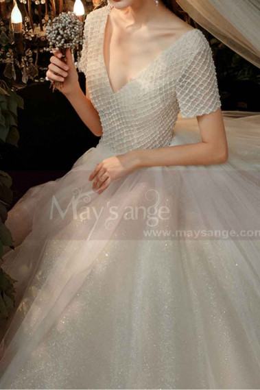 V Neck Wedding Dress With Short Sleeves And Checkered Top - M1260 #1