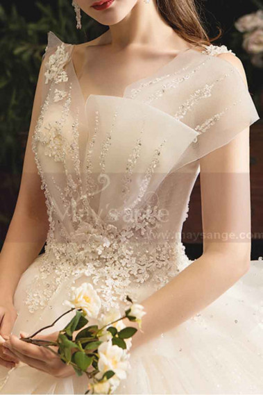 copy of Top Lace White Simple Wedding Gown With Thin Strap - M1257 #1