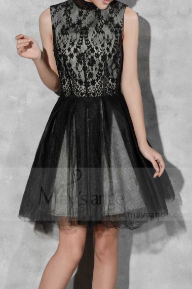 Lace Black And Gray Short Party Dress - C810 #1