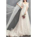 V-Neck Embroidered Bodice Bohemian Wedding Dresses With Flounce Sleeve - Ref M1906 - 06