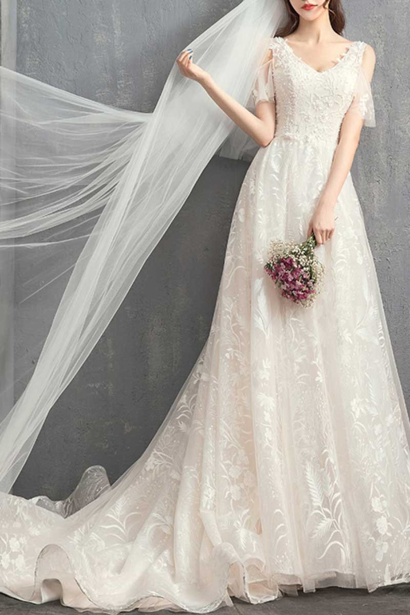 V-Neck Embroidered Bodice Bohemian Wedding Dresses With Flounce Sleeve - Ref M1906 - 01