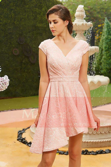Robe de cocktail fluide - robe courte cocktail rose peche jupe asymétrique decollete v - C829 #1