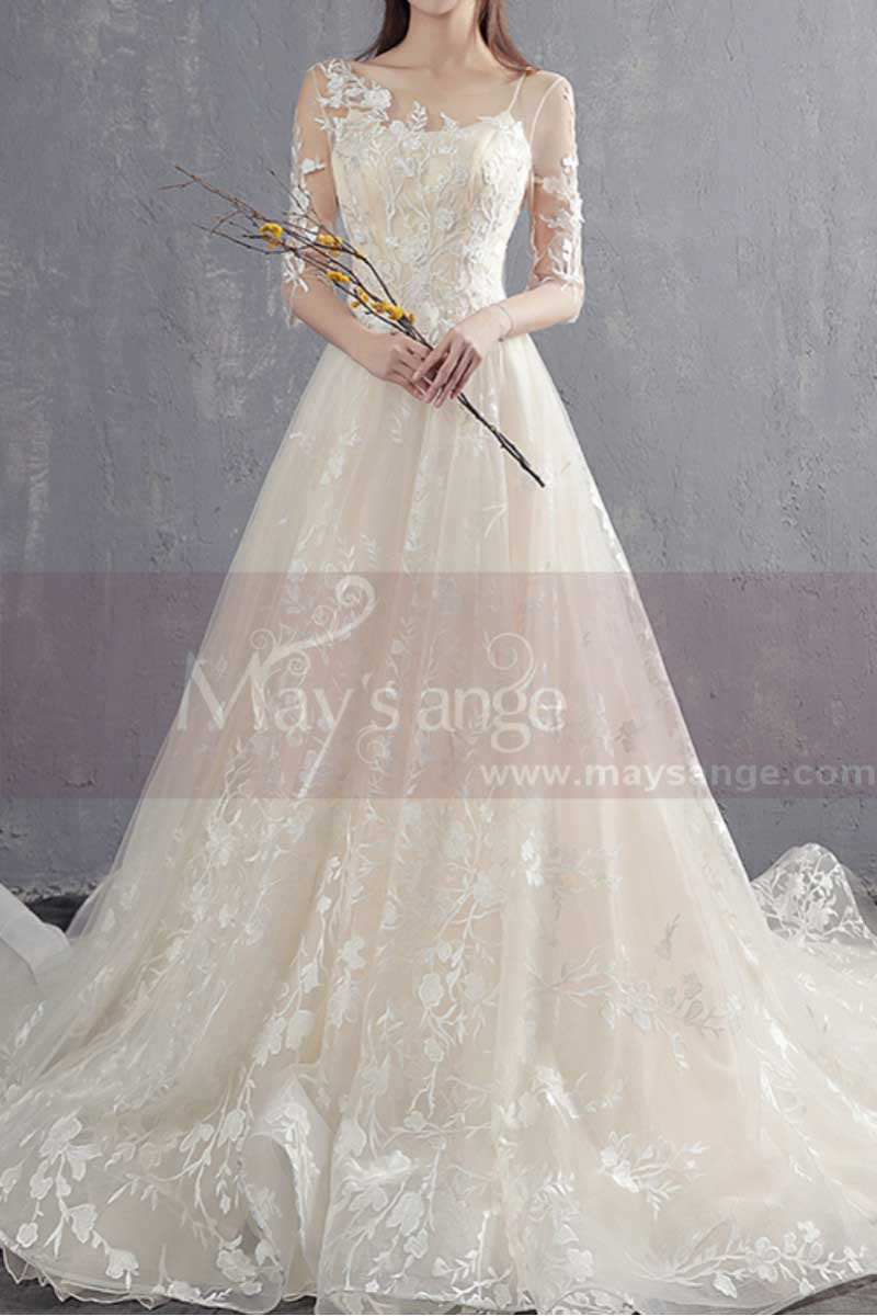 A-line Illusion Organza Bridal Dress With Train - Ref M1904 - 01