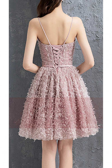 Short Spaghetti-Strap Prom Dress in Peach Beige - C884 #1