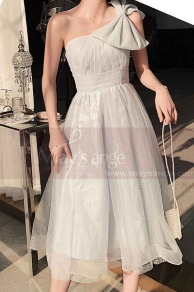 Reception Dress For Bride In White With Large Single Strap Bow - L1214 #1