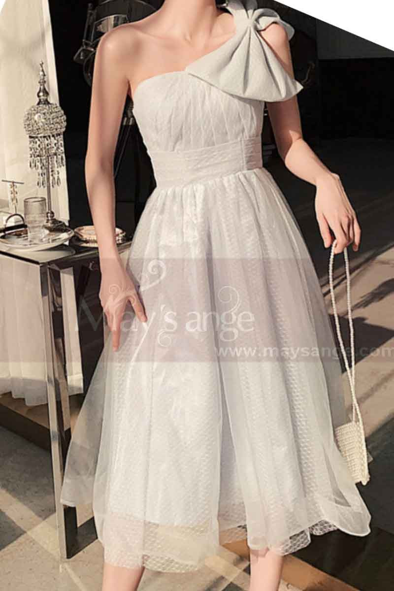 Reception Dress For Bride In White With Large Single Strap Bow - Ref L1214 - 01
