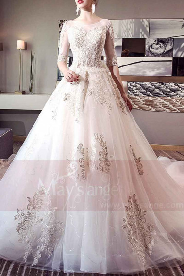 Ivory Organza And Lace Wedding dress With Long Illusion Sleeve - M394 #1
