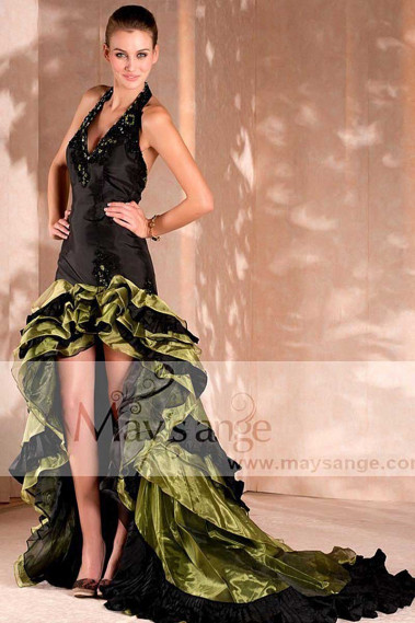 Green evening dress - Spanish Style Evening Dresses - Open Back Formal Dresses - L004 #1