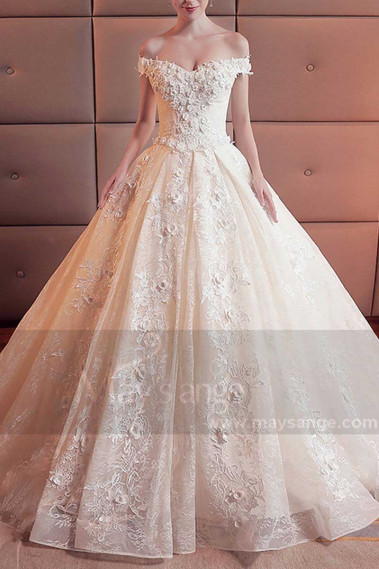 Champagne Off-The-Shoulder Organza Wedding Dress With Cathedral Train - M378 #1