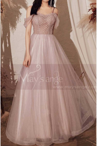 Pink evening dress - Tulle Long Elegant Dresses For Prom With Top Checkered Square Fabric Grid - L2003 #1