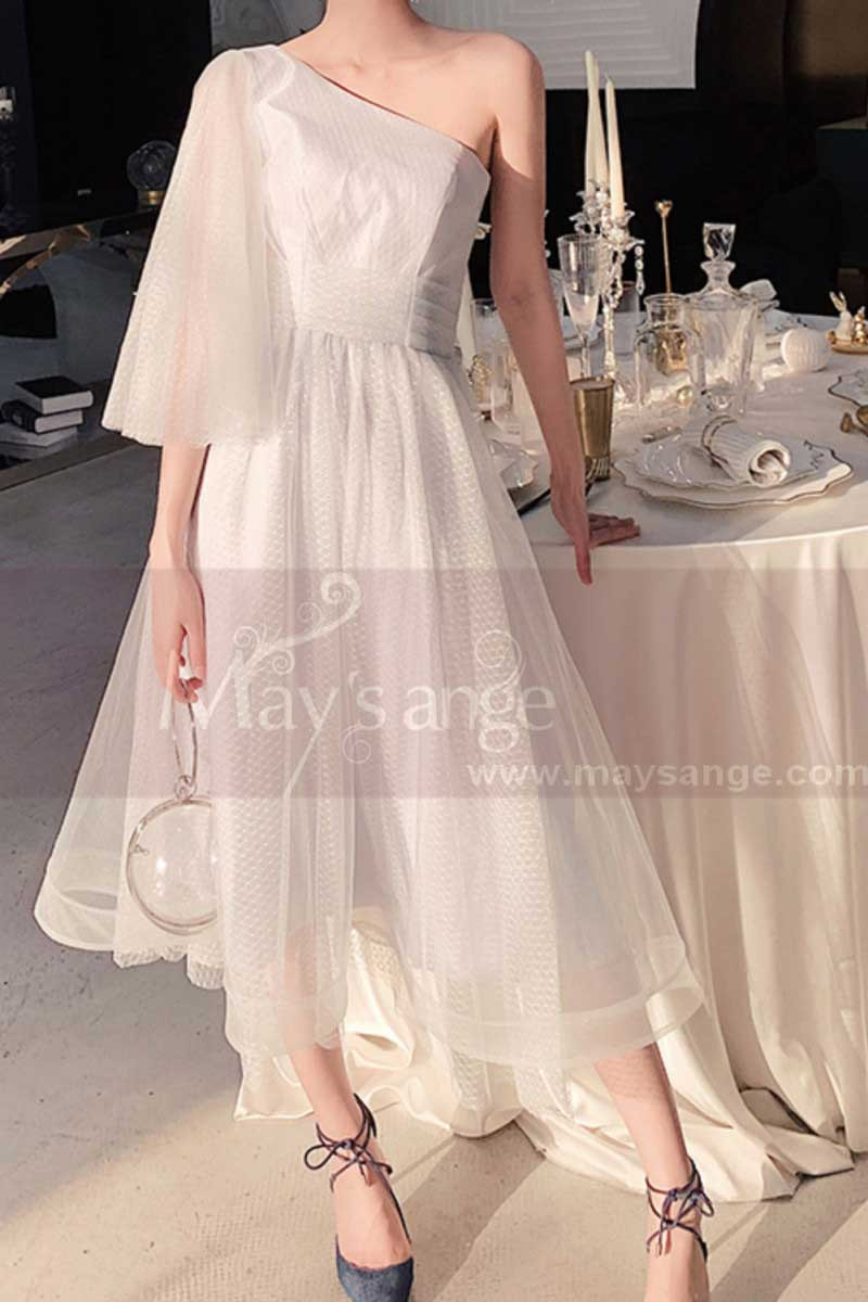 Asymmetrical White Ball Gown Prom Dresses In Tulle - Ref L1216 - 01