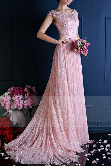 Pink evening dress - Stunning Lace Pink Bridesmaid Dresses With Beautiful Open Back And Sleeves - L766 #1