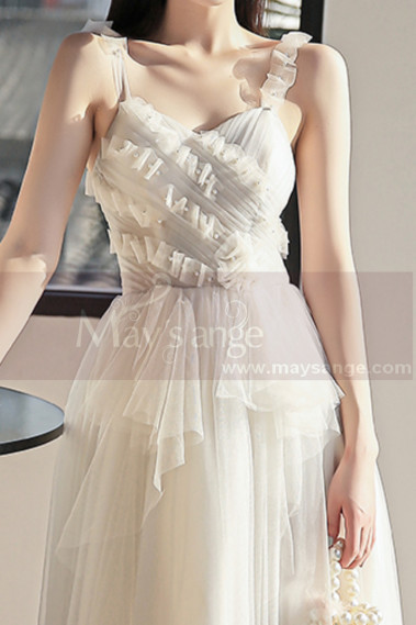 Beige evening dress - copy of Tulle Long Elegant Dresses For Prom With Top Checkered Square Fabric Grid - L1255 #1