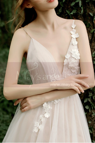 Princess Wedding Dress - Sexy Wedding Gowns With 3D embroidery Flower And Golden Belt - M1280 #1