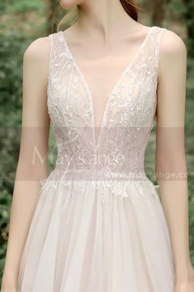 Lace Embroidered Backless Wedding Dresses Nude Color Lining - M1281 #1