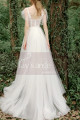 A-Line Boho Wedding Gown Illusion Lace Top And Ruffle Sleeve - Ref M1284 - 02