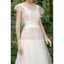 A-Line Boho Wedding Gown Illusion Lace Top And Ruffle Sleeve - Ref M1284 - 03