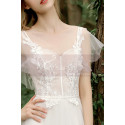 A-Line Boho Wedding Gown Illusion Lace Top And Ruffle Sleeve - Ref M1284 - 04