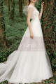 A-Line Boho Wedding Gown Illusion Lace Top And Ruffle Sleeve - Ref M1284 - 05