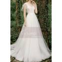 A-Line Boho Wedding Gown Illusion Lace Top And Ruffle Sleeve - Ref M1284 - 06