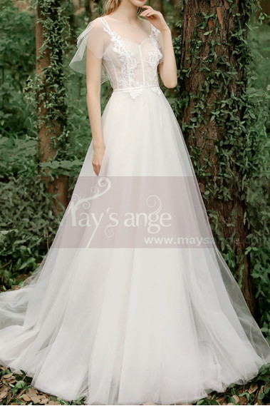 A-Line Boho Wedding Gown Illusion Lace Top And Ruffle Sleeve - M1284 #1