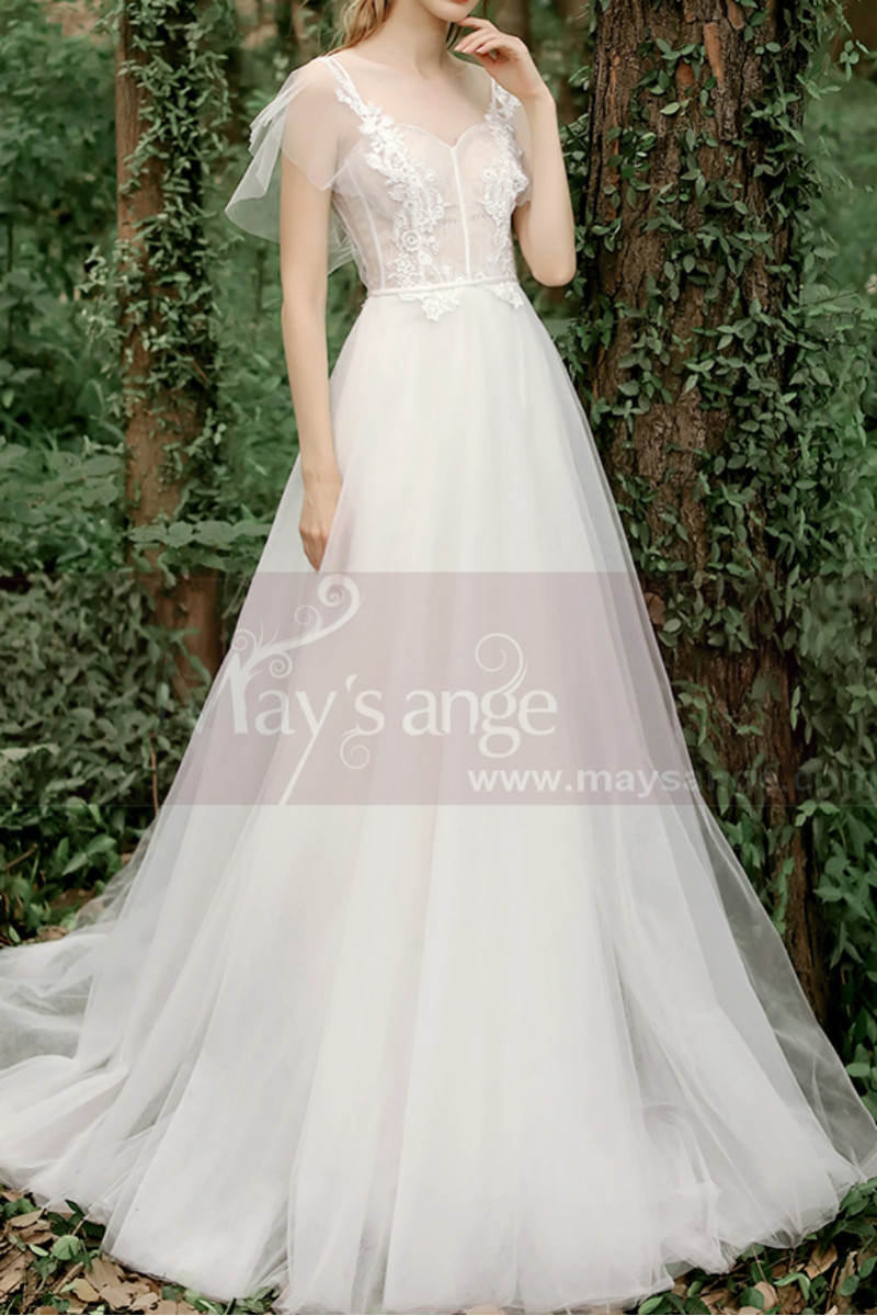 A-Line Boho Wedding Gown Illusion Lace Top And Ruffle Sleeve - Ref M1284 - 01
