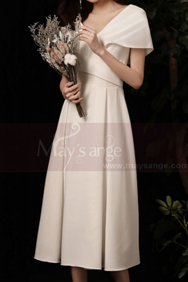 Off White Short Pretty Wedding Dresses With Covered Shoulder - M1291 #1