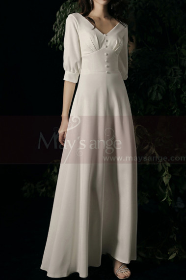3/4 Sleeve Closed Bohemian Style Wedding Dresses Off White - M1292 #1