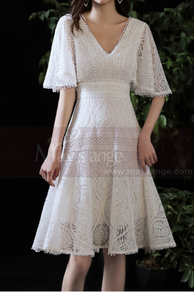 Beautiful White Short Lace Bridal Gowns With Ruffle Sleeve - M1294 #1