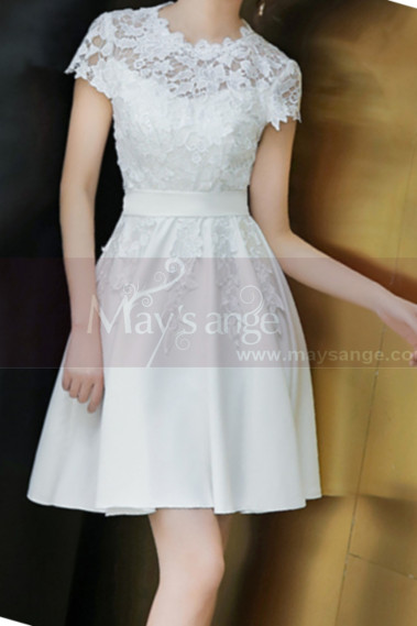 Lace Top Fitted Waist Short White Wedding Dress With Sleeve - M1295 #1