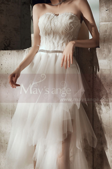 Beautiful Strapless Elegant Wedding Dresses Asymmetrical Tulle Skirt - M1296 #1
