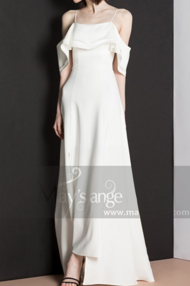 Fine Straps White Dress For Civil Wedding And Flounce Neck - M1301 #1
