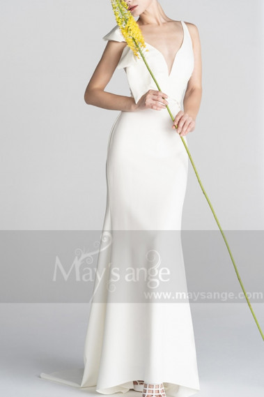 Bow Strap And Plunging Neck Mermaid Style Civil Bridal Dress - M1302 #1