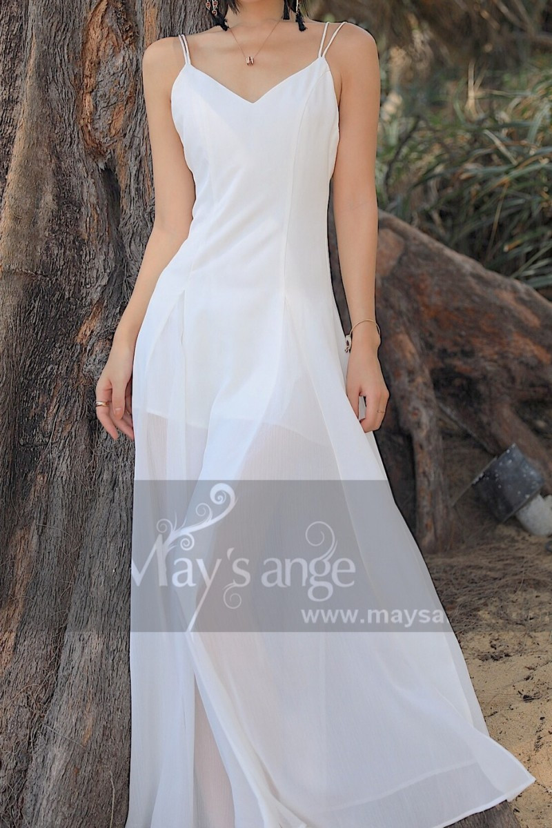 Simple White Backless Dress For A Beach Wedding Thin Straps - Ref M1303 - 01