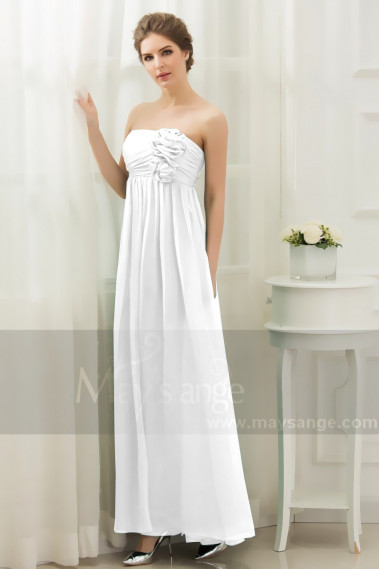 Empire Long Chiffon Strapless White Bridal Gown With Flowers - M1309 #1