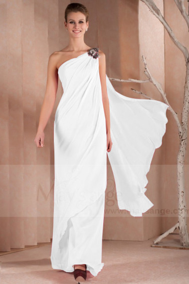 Long Chiffon White Indian Style Asymmetric Wedding Dresses - M1307 #1