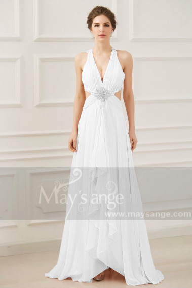 Beautiful Backless Wedding Dress White Pretty Cutout Waist - M1311 #1