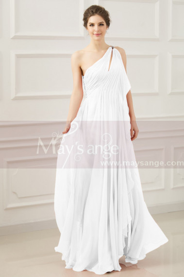Long Greek Style Asymmetrical Wedding Dress With Pleated Top - M1316 #1
