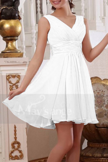 Satin Belt Draped V Neck Short White Dress For Civil Wedding - M1313 #1