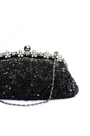 Sparkly Black evening bag with strass - SAC209 #1