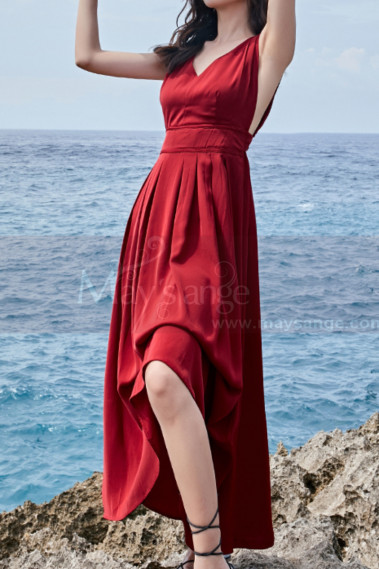 Beautiful Red Casual Attire For Women With Sexy Cutout Back - C2021 #1