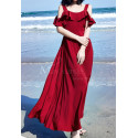 Long Chiffon Red Sexy Cocktail Dress Strap And Ruffle Sleeve - Ref C2022 - 02