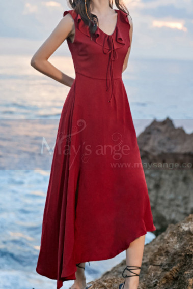 Red Summer Party Dress Asymmetric Skirt And Beautiful V Neck - C2023 #1