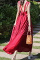 Long Red Chiffon Casual Beach Dress Wiht Cute Bow Backless - Ref C2024 - 02