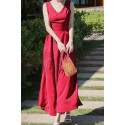 Long Red Chiffon Casual Beach Dress Wiht Cute Bow Backless - Ref C2024 - 03