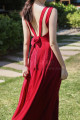 Long Red Chiffon Casual Beach Dress Wiht Cute Bow Backless - Ref C2024 - 04
