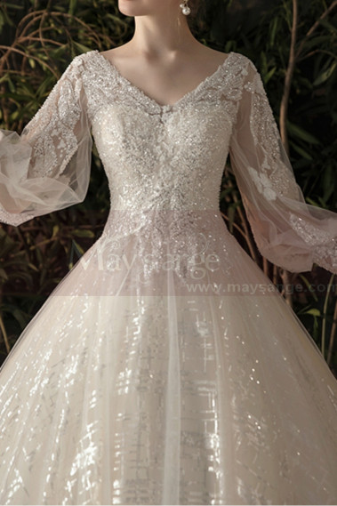 Gorgeous V Lace Sparkling Neckling Long Sleeve Wedding Dress - M1304 #1