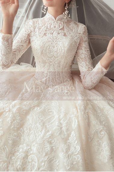 Luxury Long Illusion Sleeve Lace Bridal Gowns With High Neck - M1305 #1